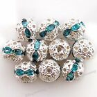 100pcs 110235 New Wholesale Cyan Rhinestones Spacer Beads Jewelry Findings 8mm