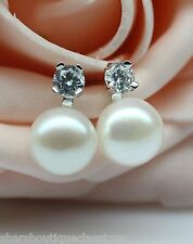 White 9mm Button Genuine Freshwater Pearl Earrings In Solid 925 Silver