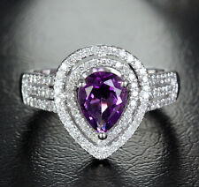 6x8mm Pear Amethyst 14K White Gold .52ctw Diamonds Halo Engagement/Promise Ring