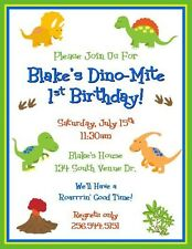 12 Printed Cute Dinosaurs Birthday Invitations