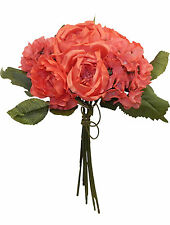 CORAL REEF ~ CABBAGE ROSE HYDRANGEA Bouquet Silk Wedding Flowers Centerpieces