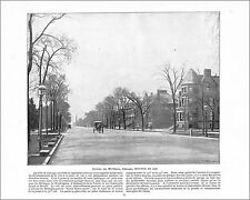 MICHIGAN AVENUE CHICAGO  / PLACE D'ARMES MONTREAL CANADA 1897 PRINT