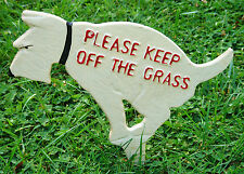 Rustic Cast Iron Dog Front Yard Sign Stake DOGS KEEP OFF THE GRASS garden plaque