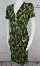 ADRIANNA PAPELL - Brown & Green Foliage Print Silk Knit Mock Wrap Dress size 10