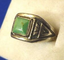Vintage Bell Trading Post Sterling Silver Green Turquoise Stamped Ring Size 7.25