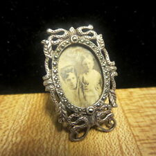 Vintage Miniature Sterling Silver Frame Marcasites With Photograph