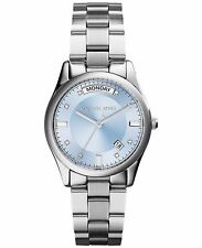 BRAND NEW MICHAEL KORS MK6068 COLLETE ICY BLUE GLITZ DIAL SILVER WOMEN'S WATCH