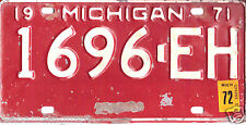 1971/71  MICHIGAN~1696-EH~LICENSE PLATE  TAG
