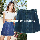 sk99 Celebrity Style High Waisted Retro Button Front Skater A Line Denim Skirt