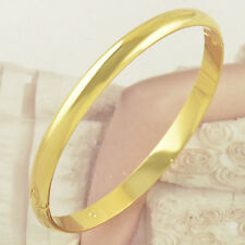 Shiny Smooth 9K Yellow Gold Filled Bangle Bracelet Hiden Clasp Wide 60*6mm F3482