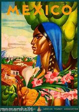 Mexico Senorita Mexican Spanish Vintage Travel Advertisement Art Poster