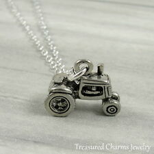Silver Tractor Charm Necklace - Farmer Country Living Jewelry Pendant NEW