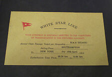 White Star Line, RMS Titanic, Passenger Ticket & Envelope 1912