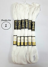 6 Anchor Cotton Skeins / floss embroidery sewing fast solid colour thread white