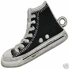 4 x Enamel Silver Plated Converse Boot Shoe Pendant Charms