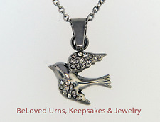 "Small Bird Cremation Jewelry Pendant Urn Keepsake Memorial- 20""Necklace & Funnel"