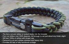 Survival Paracord Firekable Bracelet Fire Starter Ferro Rod Whistle *FREE BONUS*