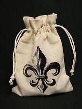 Muslin Canvas Gift Bag Fleur De Lis Tea Herb Gris Gris Sack New Orleans Saints