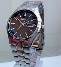 STYLISH %100 GENUINE SEIKO MEN'S WATCH STAINLESS STEEL BLACK DIAL DATE WATCH NEW