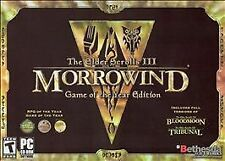 The Elder Scrolls III Morrowind Game of the Year Edition PC CD Game No Scratches