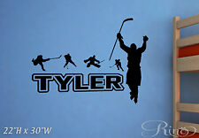 Custom Hockey player Personalized name Wall Art Vinyl Decal home decor sticker