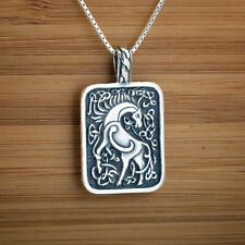 925 Sterling Silver Celtic Epona Horse Goddess Pendant FREE Cable Chain