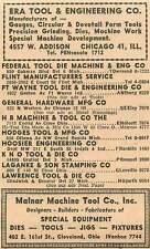 1946 Malnar Macine Tool Co E 161St St Ivanhoe Era Tool W Addison Pensacola Ad