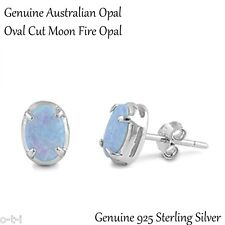 Oval Cut Australian Light Blue Fire Opal Genuine Sterling Silver Earring Studs