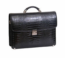 Mens BLACK Leather Briefcase Luxury Croc Print Work Office Executive Laptop Bag