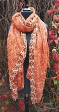 Large Copper Sparkly Embroidered Shawl Wrap Sarong Scarf Indian Sari Bohemian
