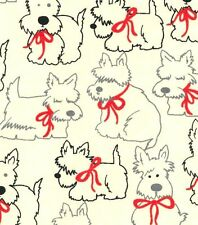 Scottie Dogs in Red Bows Flannel Fabric by the HALF YARD