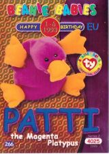Ty S2 Beanie Card Birthday PATTI PLATYPUS BLUE EUROPE  EUROPEAN VERSION