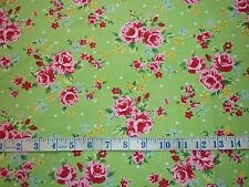 CLEARANCE FQ BRIGHT VINTAGE ROSE BLOSSOM FLOWERS FABRIC SHABBY CHIC KITSCH GREEN