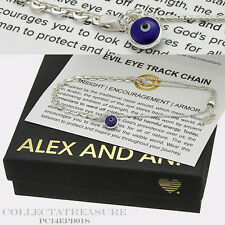 Authentic Alex and Ani Providence Evil Eye Track Chain Sterling Silver Bracelet