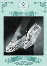 Vintage crochet pattern-how to make sweet mesh crochet slippers- inc the sole