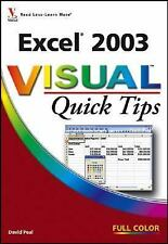 Excel 2003 Visual Quick Tips - VeryGood - Peal, David - Paperback