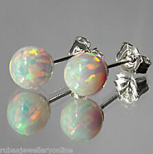 6mm SYNTHETIC WHITE OPAL BEAD / BALL / SPHERE 925 STERLING SILVER STUD EARRINGS