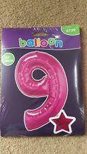 """34"""" Giant Rosa Aluminio número 9 Globo Helio Feliz Cumpleaños Regalos de fiesta"""