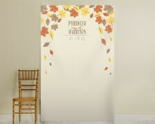 Personalized Fall Leaves Autumn Wedding Photo Booth Backdrop Q36248