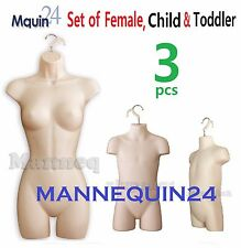 3 MANNEQUINS: HARD PLASTIC HANGING FEMALE, CHILD & TODDLER BODY FORMS *FLESH