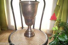 ANCIEN GRAND VASE COUPE EN METAL ARGENTER 36 CM DE HAUT