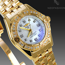 BREITLING CALLISTINO 18K YELLOW GOLD FACTORY MOP DIAMOND DIAL & BEZEL K72345
