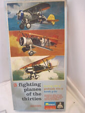 OLD MONOGRAM 3 FIGHTER PLANES OF THE THIRTIES MILITARY AIRPLANE PLANE MODEL KIT