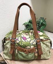 Fossil Floral Canvas Leather Trim Weekender Travel Duffle Gym Bag Handbag XL