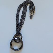Fashion Necklace- Black color-ball chain-intertwined circles-several chains