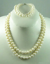 2 Rows 8-9mm Genuine White Pearl White Gold Plated Clasp Necklace Bracelet set