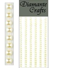 150 x 4mm Ivory Pearl Self Adhesive Strips Rows Rhinestone Body Vajazzle Gems