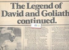 WORLD AIRWAYS THE LEGEND OF DAVID & GOLIATH 5/30/79 AD FOR SCHEDULED TRANSCON