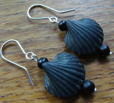 antique Victorian matt jet black glass shell bead SILVER pierced earrings C911