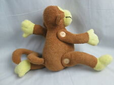 SOFT PLUSH BROWN TERRYCLOTH MONKEY ROTATING ARMS WOODEN BUTTONS STUFFED ANIMAL
